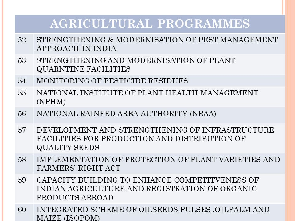 AGRICULTURAL PROGRAMMES 52STRENGTHENING & MODERNISATION OF PEST MANAGEMENT APPROACH IN INDIA 53STRENGTHENING AND MODERNISATION OF PLANT QUARNTINE FACI