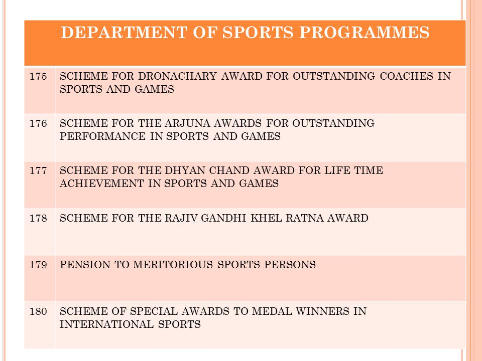 DEPARTMENT OF SPORTS PROGRAMMES 175SCHEME FOR DRONACHARY AWARD FOR OUTSTANDING COACHES IN SPORTS AND GAMES 176SCHEME FOR THE ARJUNA AWARDS FOR OUTSTAN