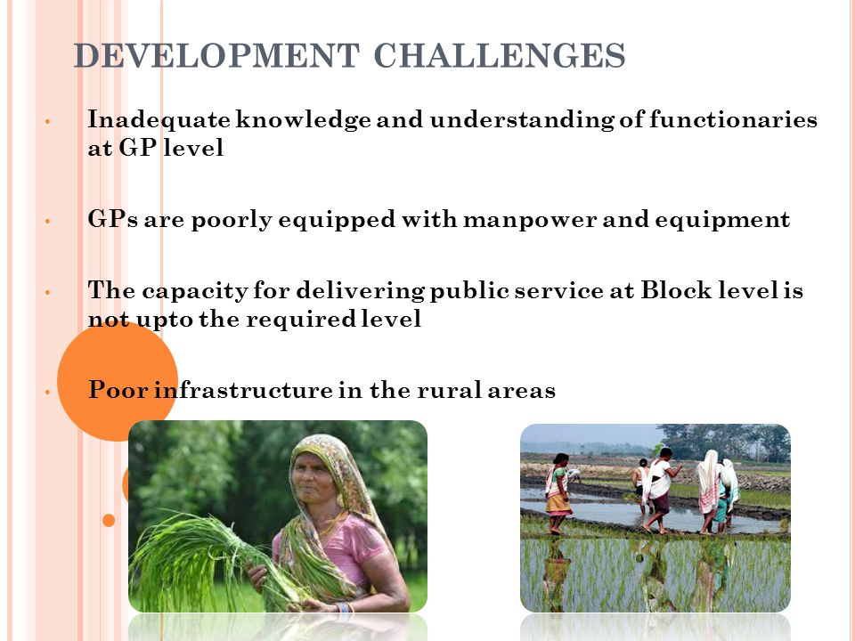 V OLUNTARY A CTION : A N ANSWER TO DEVELOPMENT CHALLENGE S Limitation of Government machinery can be overcome by : a)Creation of a knowledge community; b)Establishing a village based cadre of volunteers who will: i) Actively support administrative machinery/PRIs ii) Establish close contact with house holds.