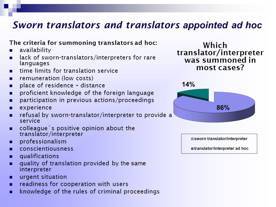 Sworn translators and translators appointed ad hoc The criteria for summoning translators ad hoc: availability lack of sworn-translators/interpreters for rare languages time limits for translation service remuneration (low costs) place of residence – distance proficient knowledge of the foreign language participation in previous actions/proceedings experience refusal by sworn-translator/interpreter to provide a service colleague`s positive opinion about the translator/interpreter professionalism conscientiousness qualifications quality of translation provided by the same interpreter urgent situation readiness for cooperation with users knowledge of the rules of criminal proceedings Which translator/interpreter was summoned in most cases