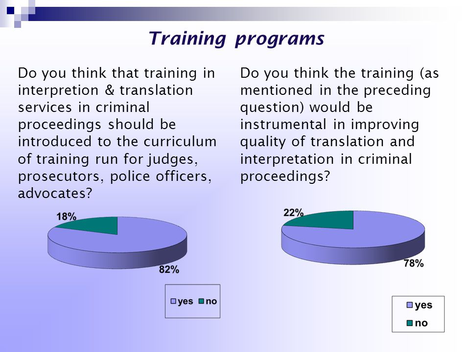 Training programs Do you think that training in interpretion & translation services in criminal proceedings should be introduced to the curriculum of training run for judges, prosecutors, police officers, advocates.