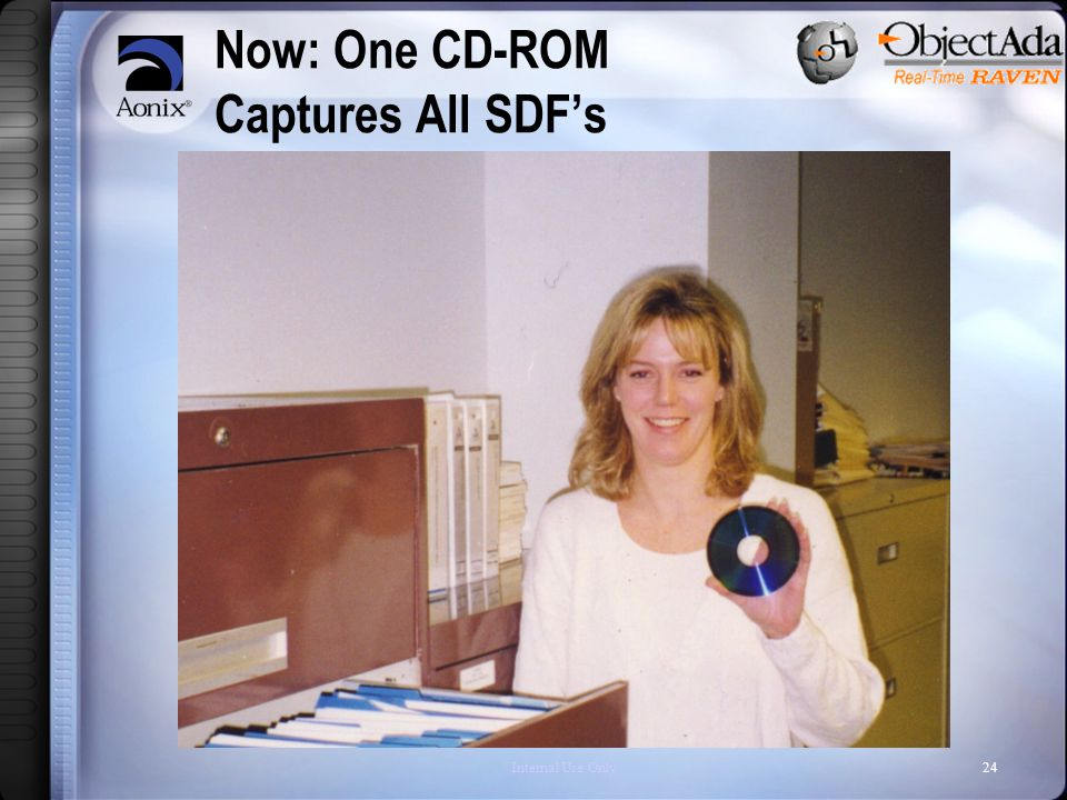 Internal Use Only24 Now: One CD-ROM Captures All SDF's