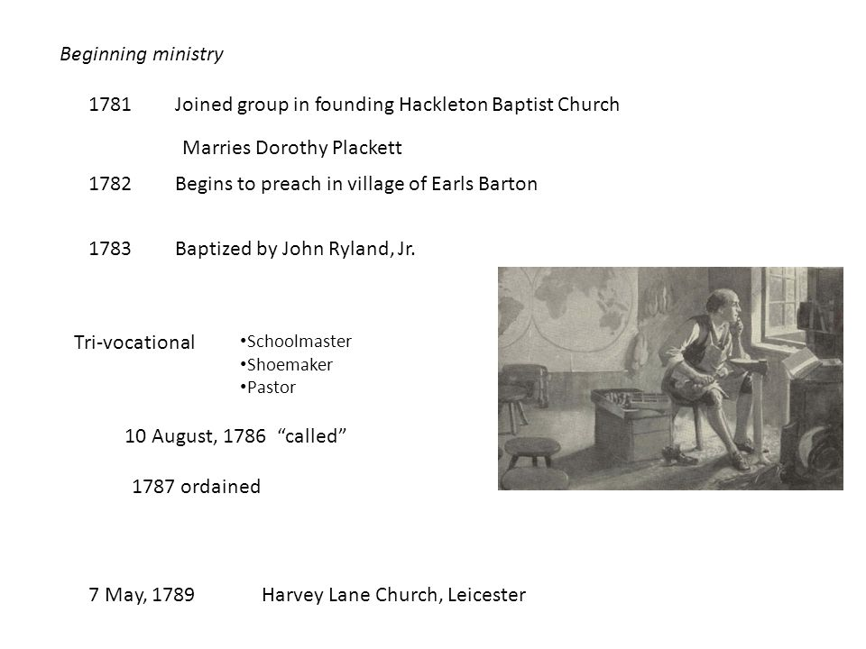 Beginning ministry 1781Joined group in founding Hackleton Baptist Church Marries Dorothy Plackett 1782Begins to preach in village of Earls Barton 1783