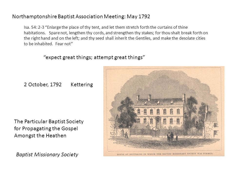 Northamptonshire Baptist Association Meeting: May 1792 Isa.