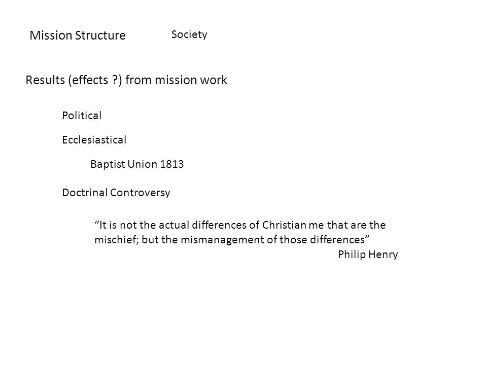 Mission Structure Society Results (effects ) from mission work Political Ecclesiastical Baptist Union 1813 Doctrinal Controversy It is not the actual differences of Christian me that are the mischief; but the mismanagement of those differences Philip Henry