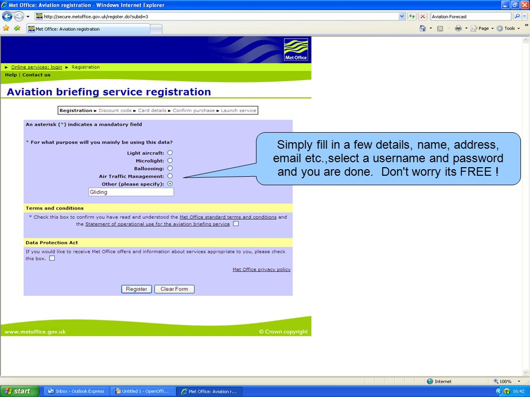If you are using your own PC you can register with the Met Office at:   subid=3