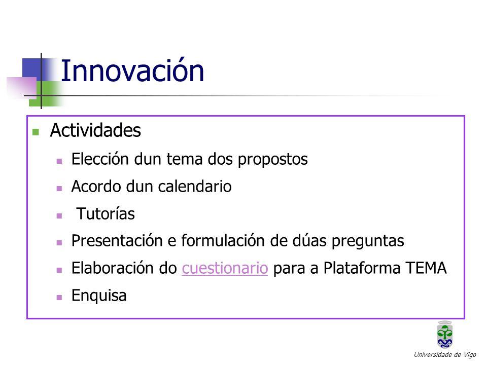 Innovación Actividades Elección dun tema dos propostos Acordo dun calendario Tutorías Presentación e formulación de dúas preguntas Elaboración do cuestionario para a Plataforma TEMAcuestionario Enquisa Universidade de Vigo