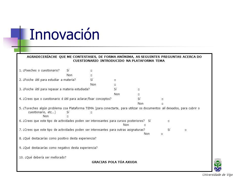 Innovación Universidade de Vigo AGRADECERÍACHE QUE ME CONTESTASES, DE FORMA ANÓNIMA, AS SEGUINTES PREGUNTAS ACERCA DO CUESTIONARIO INTRODUCIDO NA PLATAFORMA TEMA 1.