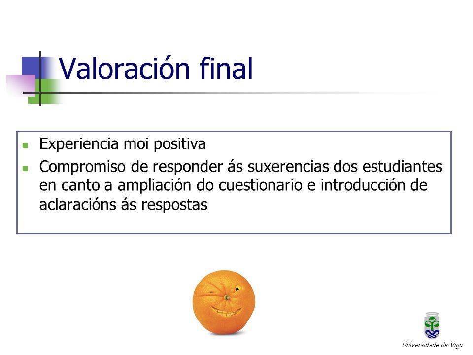 Valoración final Universidade de Vigo Experiencia moi positiva Compromiso de responder ás suxerencias dos estudiantes en canto a ampliación do cuestionario e introducción de aclaracións ás respostas