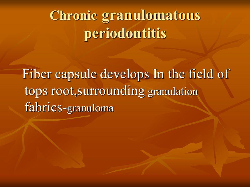 Chronic granulomatous periodontitis Fiber capsule develops In the field of tops root,surrounding granulation fabrics- granuloma Fiber capsule develops In the field of tops root,surrounding granulation fabrics- granuloma