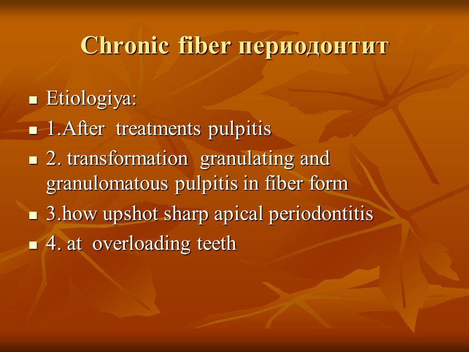Chronic granulomatous periodontitis 14 teeths.After depoforeza passed 12 mesyacev.