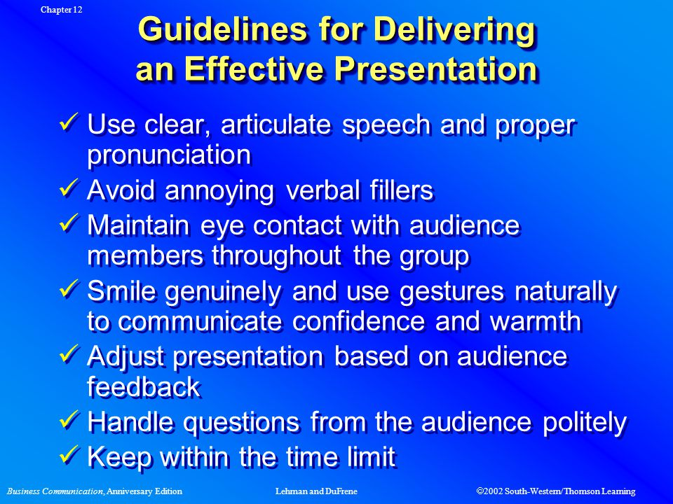 Business Communication, Anniversary EditionLehman and DuFrene  2002 South-Western/Thomson Learning Guidelines for Delivering an Effective Presentatio