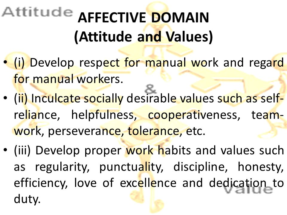 AFFECTIVE DOMAIN (Attitude and Values) (i) Develop respect for manual work and regard for manual workers. (ii) Inculcate socially desirable values suc