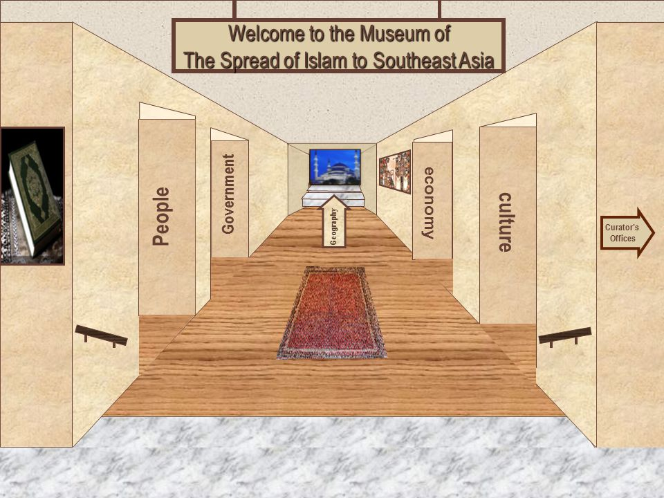 Museum Entrance People Government culture economy Welcome to the Museum of The Spread of Islam to Southeast Asia Curator's Offices Geography