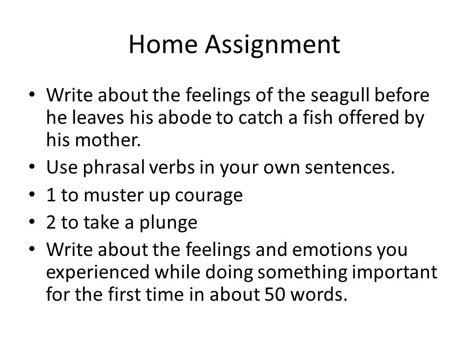 Home Assignment Write about the feelings of the seagull before he leaves his abode to catch a fish offered by his mother. Use phrasal verbs in your ow