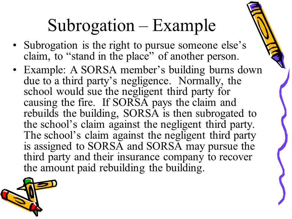 Subrogation – Example Subrogation is the right to pursue someone else's claim, to stand in the place of another person.