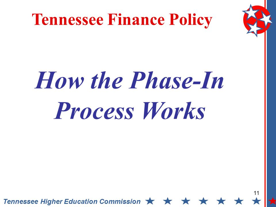 11 Tennessee Higher Education Commission Tennessee Finance Policy How the Phase-In Process Works