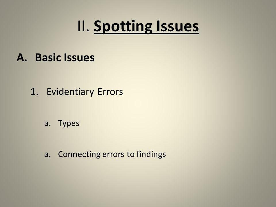 II.Spotting Issues 2.