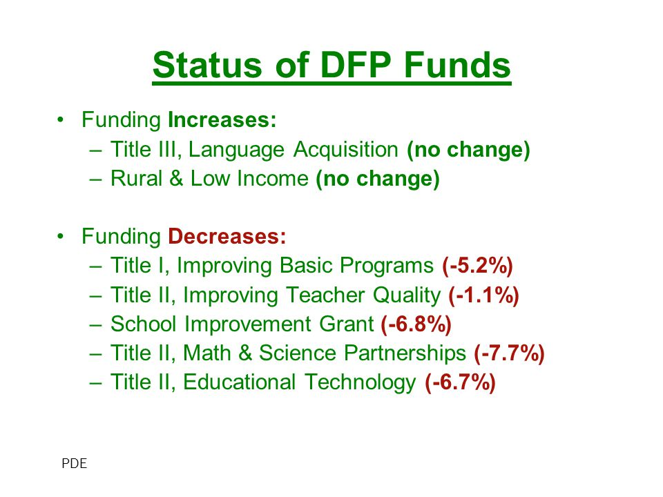Status of DFP Funds Funding Increases: –Title III, Language Acquisition (no change) –Rural & Low Income (no change) Funding Decreases: –Title I, Improving Basic Programs (-5.2%) –Title II, Improving Teacher Quality (-1.1%) –School Improvement Grant (-6.8%) –Title II, Math & Science Partnerships (-7.7%) –Title II, Educational Technology (-6.7%) PDE
