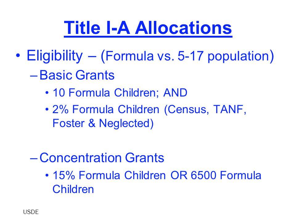 Title I-A Allocations Eligibility (Cont'd) –Targeted Grants 10 Formula Children; AND 5% Formula Children –Education Finance Incentive Grant (EFIG) 10 Formula Children; AND 5% Formula Children USDE