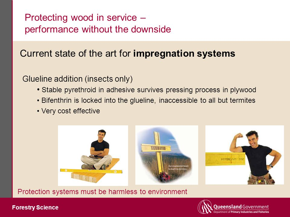 Forestry Science Protecting wood in service – performance without the downside Protection systems must be harmless to environment Glueline addition (insects only) Stable pyrethroid in adhesive survives pressing process in plywood Bifenthrin is locked into the glueline, inaccessible to all but termites Very cost effective Current state of the art for impregnation systems