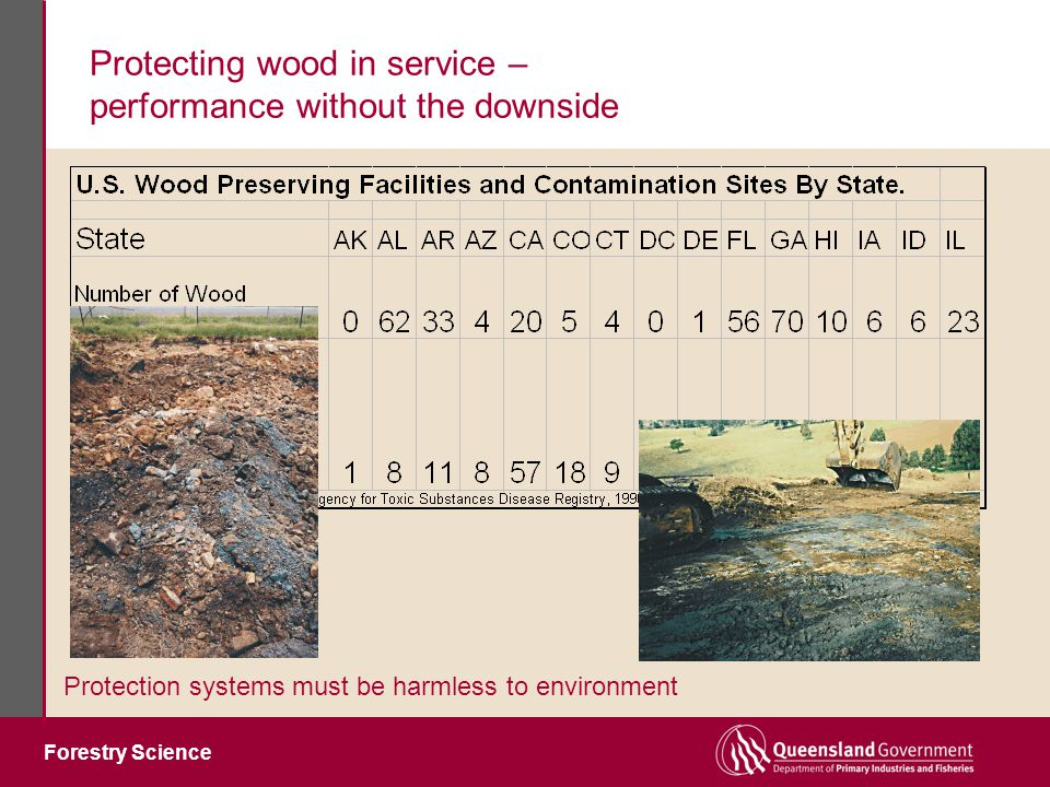 Forestry Science Protecting wood in service – performance without the downside Protection systems must be harmless to environment McCormick & Baxter Lumber Treatment site, Stockton, CA 1942 - 1991 creosote & pentachlorophenol treatment of poles & ties