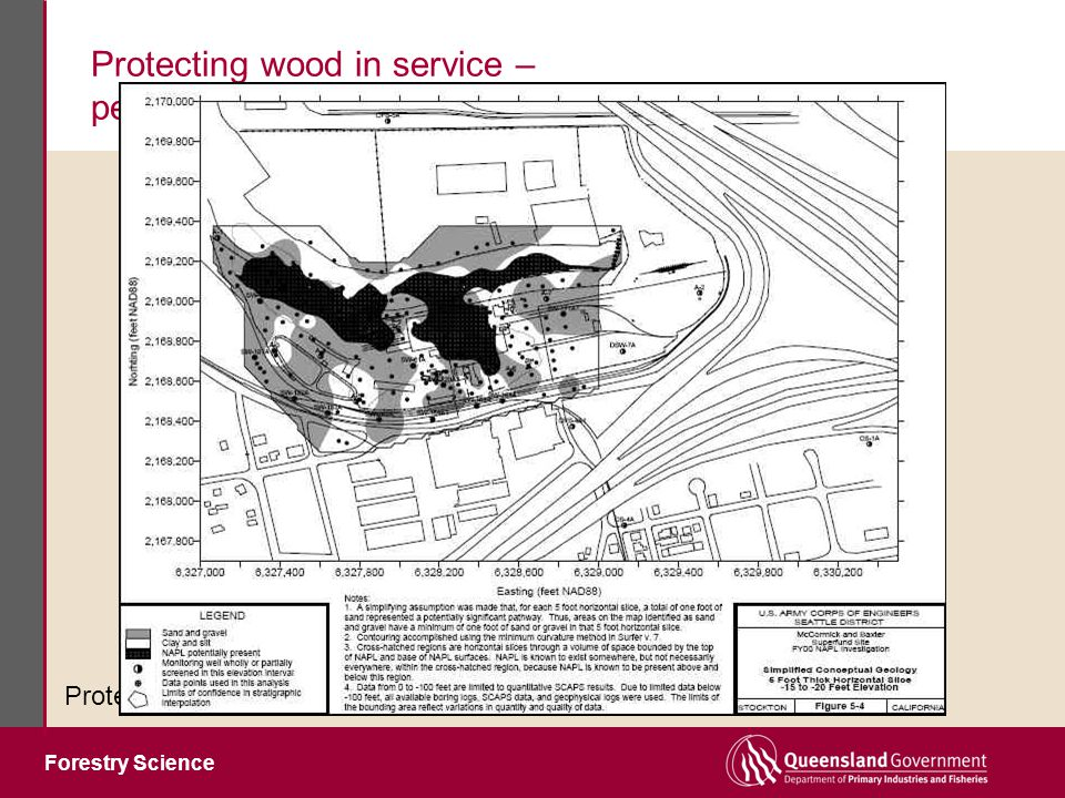 Forestry Science Protecting wood in service – performance without the downside Protection systems must be harmless to environment H1 & H2 (borers & termites, protected from weather): synthetic pyrethroids (permethrin, bifenthrin) H3 (insects & decay, exposed to weather, out of ground): Waterborne: ACQ (Cu + DDAC) Cu Azole (Cu + tebuconazole) LOSP: Non-metallic (triazoles + pyrethroid) H4 & H5 (all risks, in ground): Waterborne: CCA ACQ Cu Azole H6 (marine): Creosote + CCA dual treatment Current state of the art for biocidal wood preservatives
