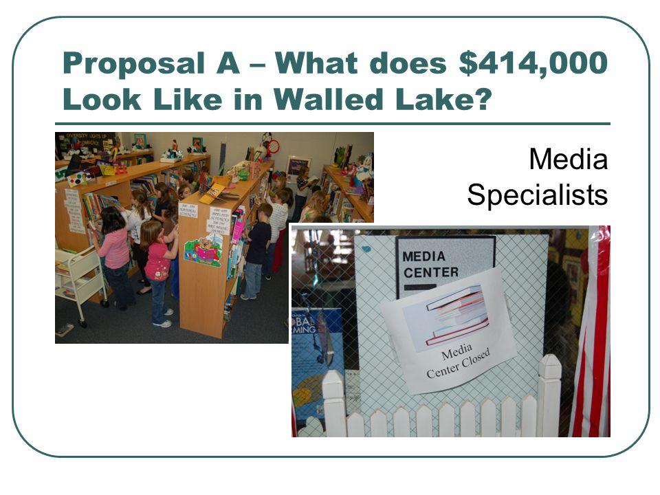 Proposal A – What does $414,000 Look Like in Walled Lake? Media Specialists