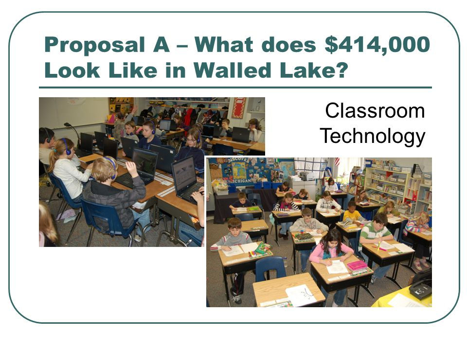 Proposal A – What does $414,000 Look Like in Walled Lake? Classroom Technology