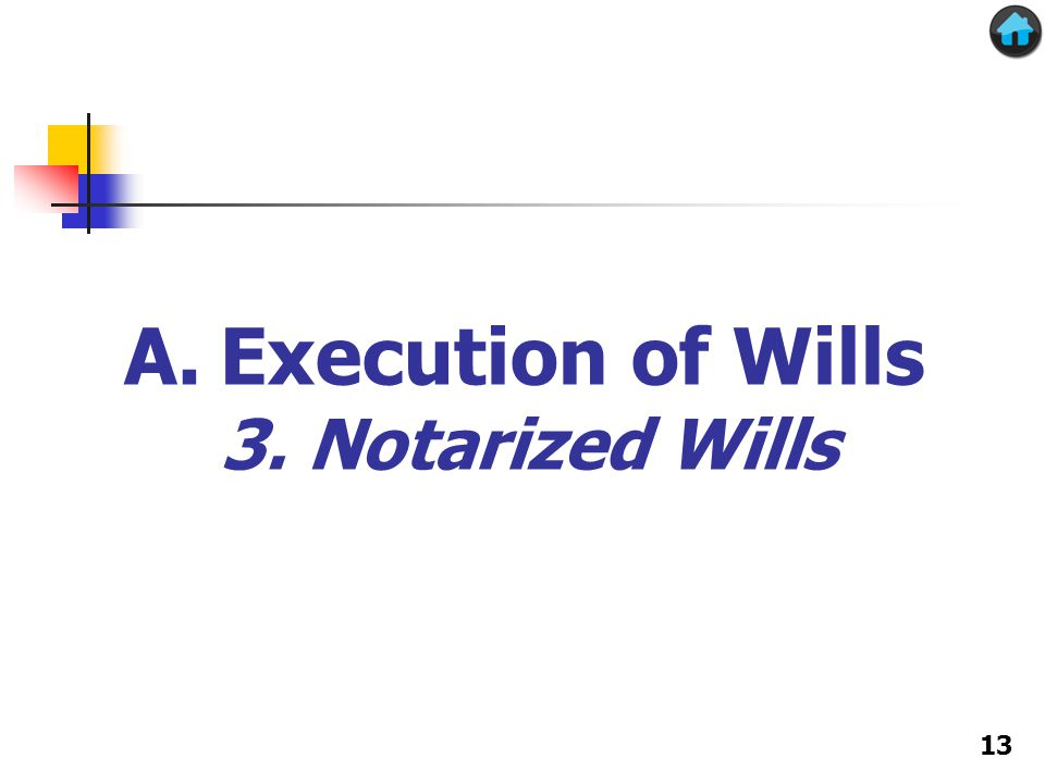 A.Execution of Wills 3. Notarized Wills 13