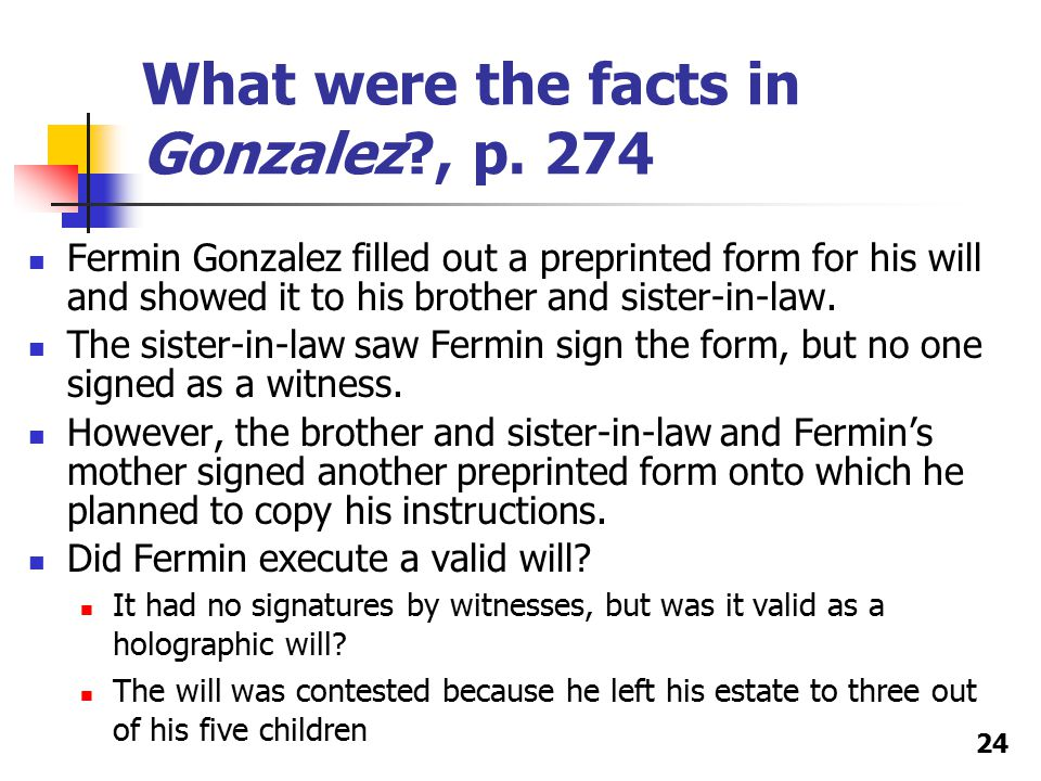 What were the facts in Gonzalez?, p.