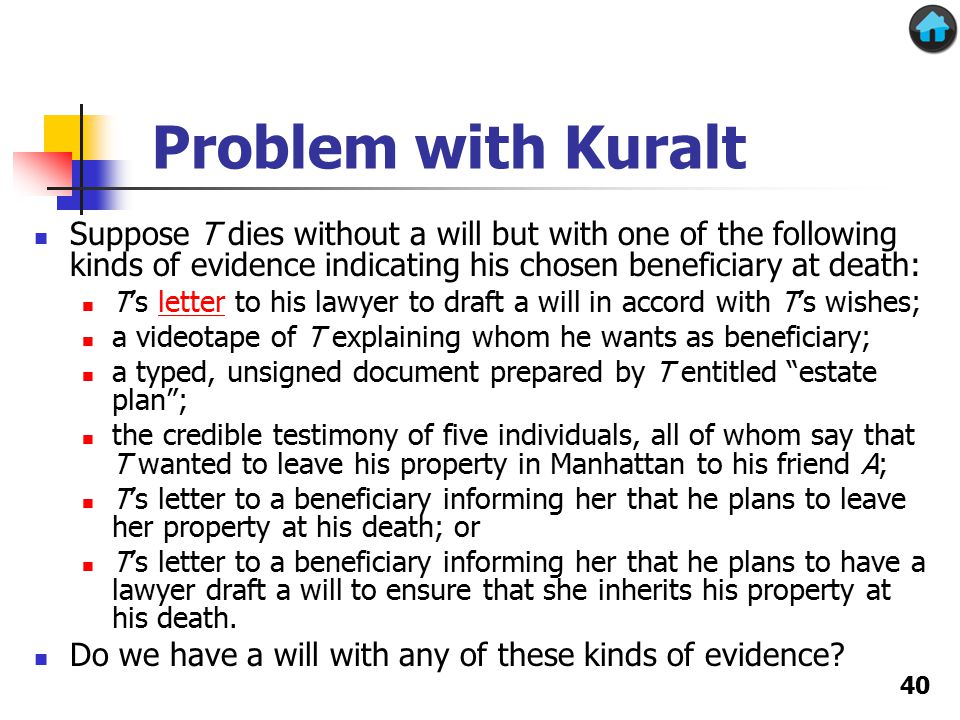 Problem with Kuralt Suppose T dies without a will but with one of the following kinds of evidence indicating his chosen beneficiary at death: T's letter to his lawyer to draft a will in accord with T's wishes;letter a videotape of T explaining whom he wants as beneficiary; a typed, unsigned document prepared by T entitled estate plan ; the credible testimony of five individuals, all of whom say that T wanted to leave his property in Manhattan to his friend A; T's letter to a beneficiary informing her that he plans to leave her property at his death; or T's letter to a beneficiary informing her that he plans to have a lawyer draft a will to ensure that she inherits his property at his death.