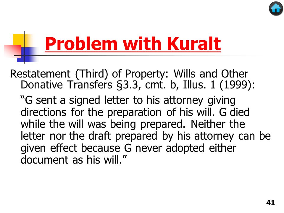 Problem with Kuralt Restatement (Third) of Property: Wills and Other Donative Transfers §3.3, cmt.