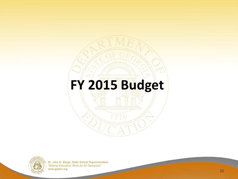 FY 2015 Budget 12