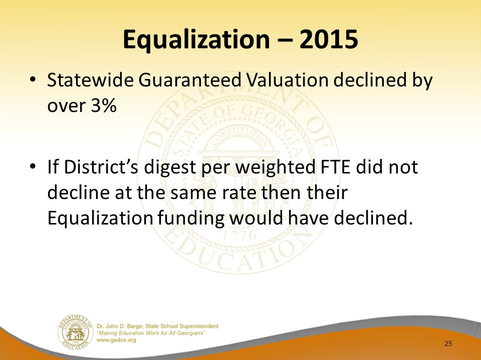 Equalization – 2015 Statewide Guaranteed Valuation declined by over 3% If District's digest per weighted FTE did not decline at the same rate then their Equalization funding would have declined.