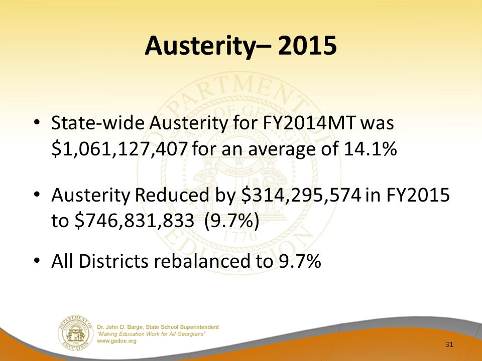 Austerity– 2015 State-wide Austerity for FY2014MT was $1,061,127,407 for an average of 14.1% Austerity Reduced by $314,295,574 in FY2015 to $746,831,833 (9.7%) All Districts rebalanced to 9.7% 31