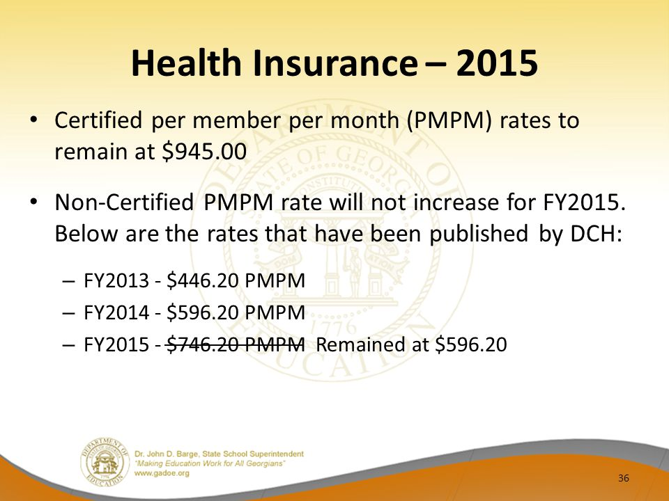 Health Insurance – 2015 Certified per member per month (PMPM) rates to remain at $945.00 Non-Certified PMPM rate will not increase for FY2015.