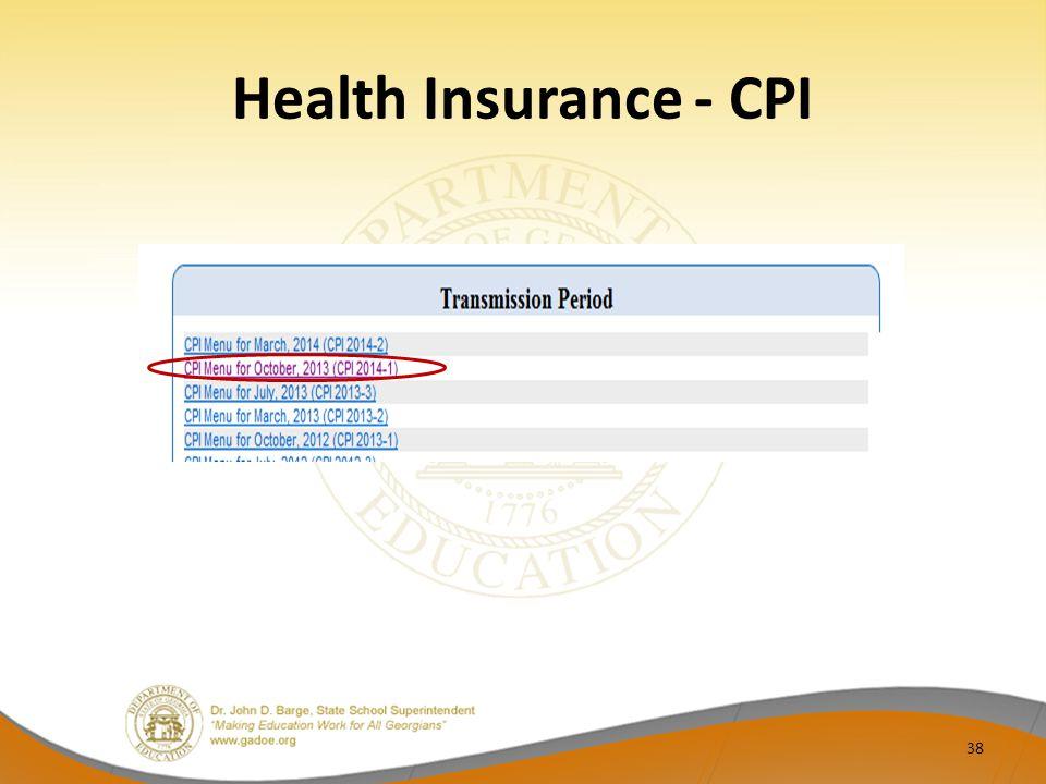 Health Insurance - CPI 38