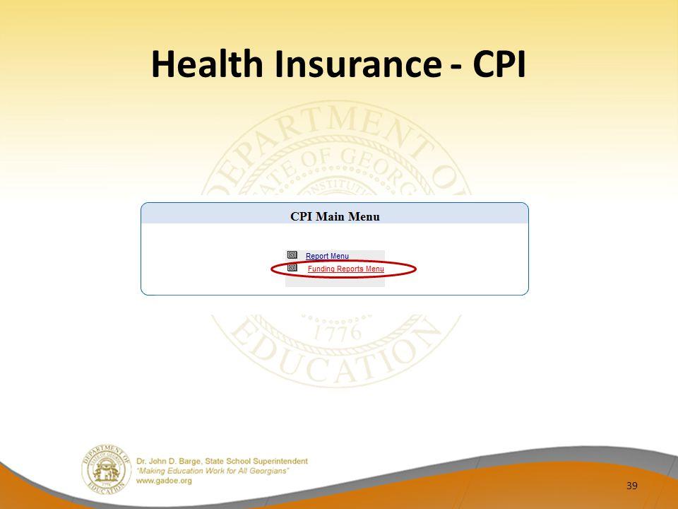 Health Insurance - CPI 39