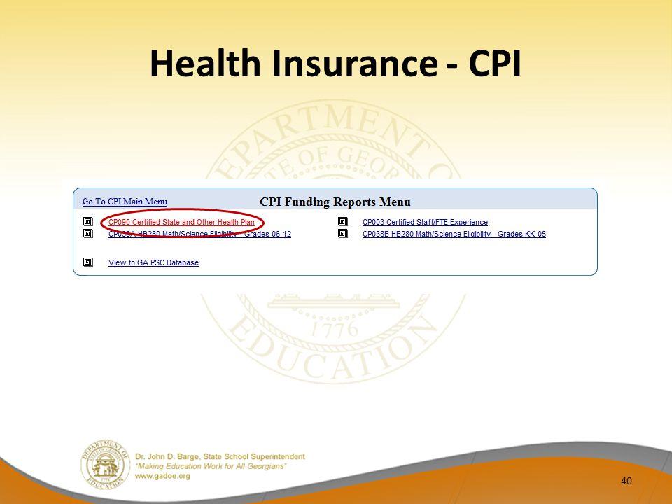 Health Insurance - CPI 40