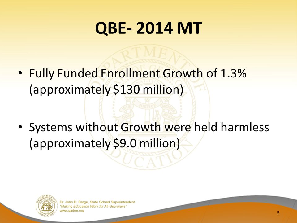 QBE- 2014 MT Fully Funded Enrollment Growth of 1.3% (approximately $130 million) Systems without Growth were held harmless (approximately $9.0 million) 5