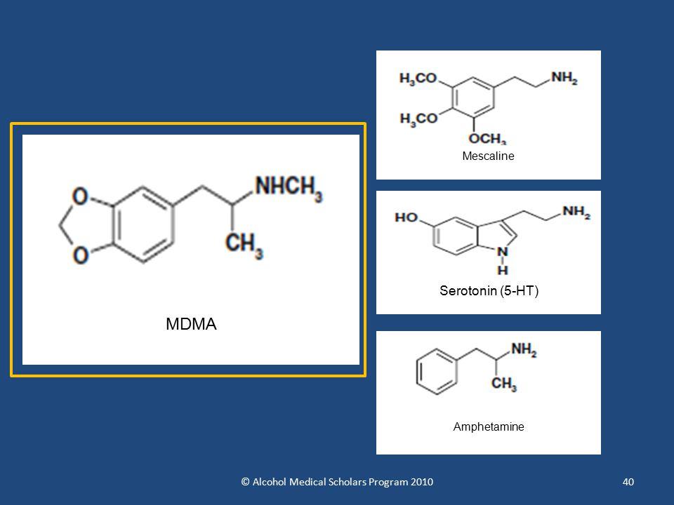 40 MDMA Serotonin (5-HT) Amphetamine Mescaline © Alcohol Medical Scholars Program 2010