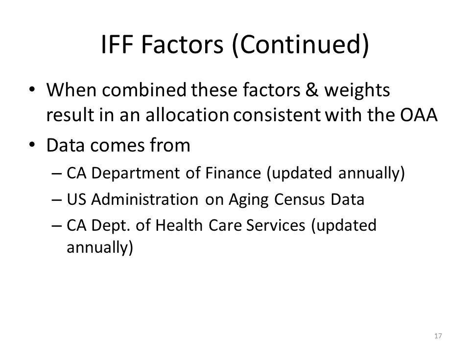 IFF Factors (Continued) When combined these factors & weights result in an allocation consistent with the OAA Data comes from – CA Department of Finan