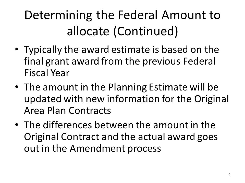 Federal Program Funding Allocation Process (Continued) Once the initial Federal allocation has been determined, the combined III B, C1, & C2, federal program allocations are checked against the Year 2000 test to meet minimum funding requirement If a PSA fails to meet the minimum funding requirement it gets its Year 2000 base amount Remaining allocations are re-calculated to exclude that PSA 20