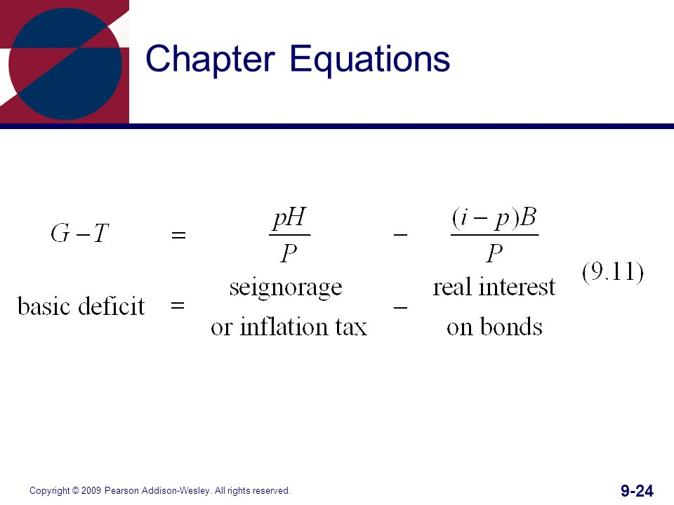 Copyright © 2009 Pearson Addison-Wesley. All rights reserved. 9-24 Chapter Equations
