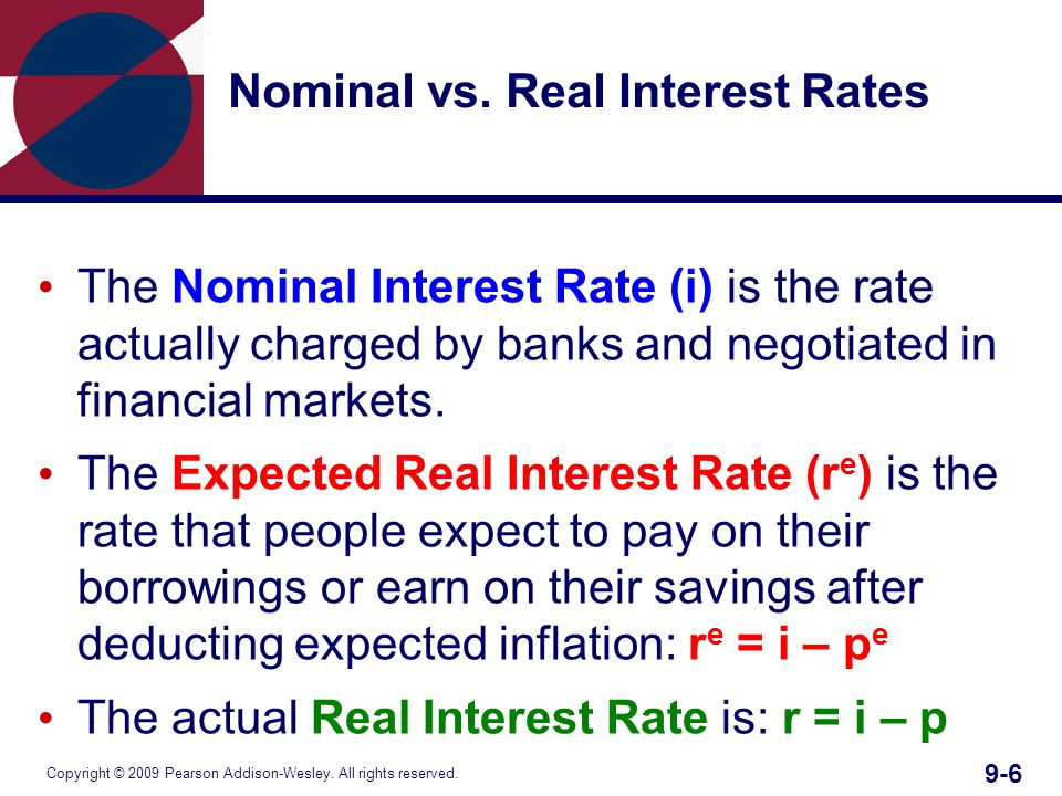 Copyright © 2009 Pearson Addison-Wesley. All rights reserved. 9-6 Nominal vs. Real Interest Rates The Nominal Interest Rate (i) is the rate actually c