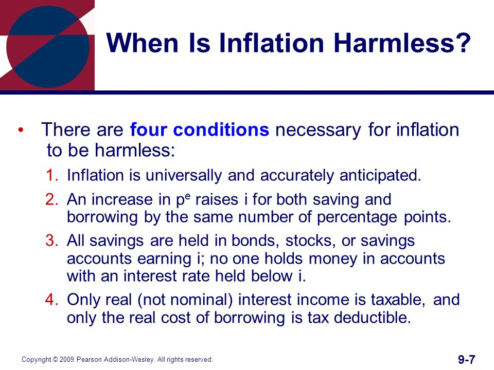 Copyright © 2009 Pearson Addison-Wesley. All rights reserved. 9-7 When Is Inflation Harmless? There are four conditions necessary for inflation to be