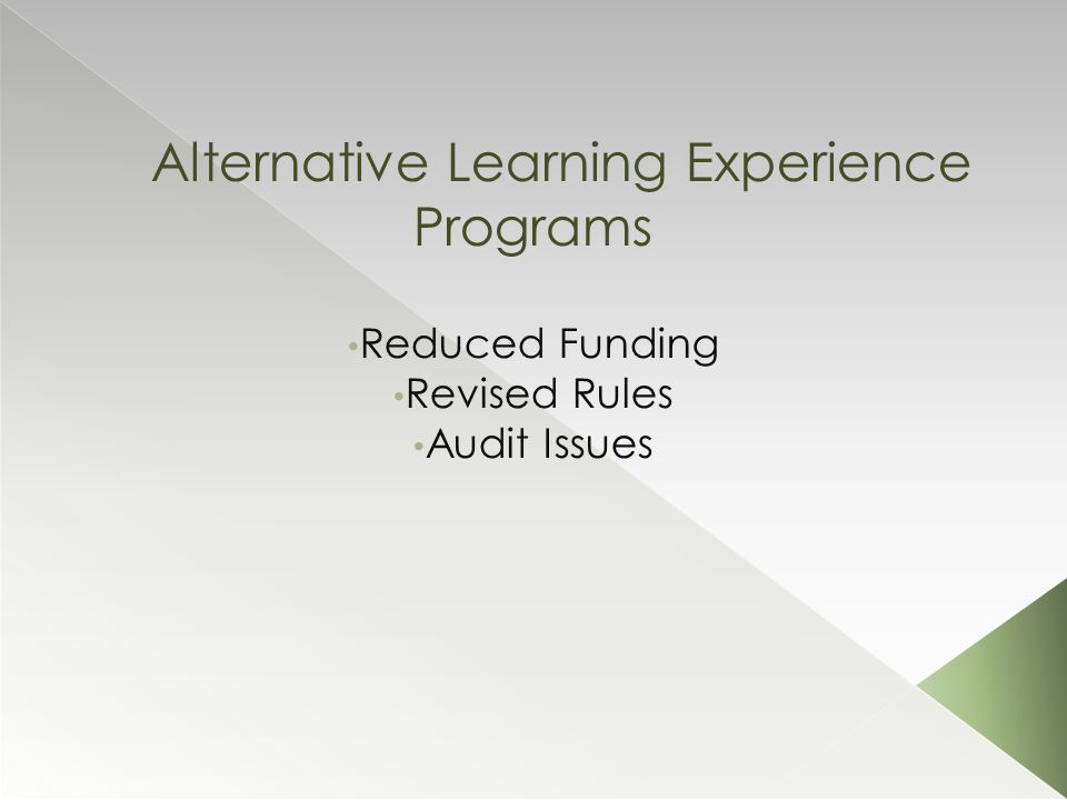 Alternative Learning Experience Programs Reduced Funding Revised Rules Audit Issues