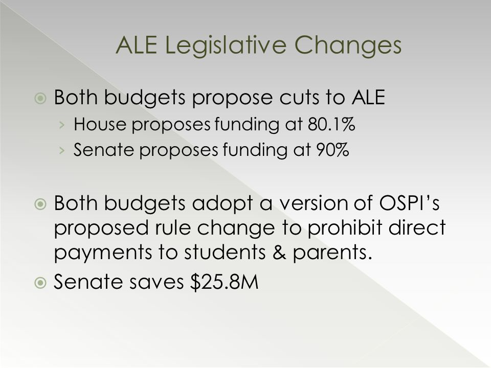  Both budgets propose cuts to ALE › House proposes funding at 80.1% › Senate proposes funding at 90%  Both budgets adopt a version of OSPI's proposed rule change to prohibit direct payments to students & parents.