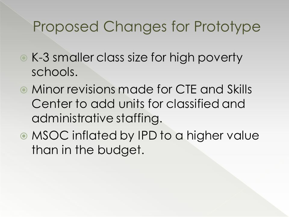  K-3 smaller class size for high poverty schools.